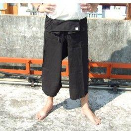 Pescadores tailandeses de SanSan SII aislamiento 3/4 pantalón de algodón - negro-