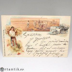 carte postala - anul 1900 Salutari din Romania - circulata international
