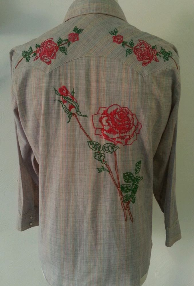 Vintage Levi's Mens L L/S Button Front Shirt Embroidered Roses Pearl Snaps Rare #levis #ButtonFront