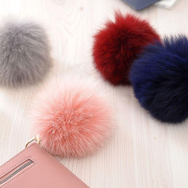 Fashion Real Fox Fur Ball Pompom Wallet Handbag Charm Key Ring Holder Chain Gift #Jacc