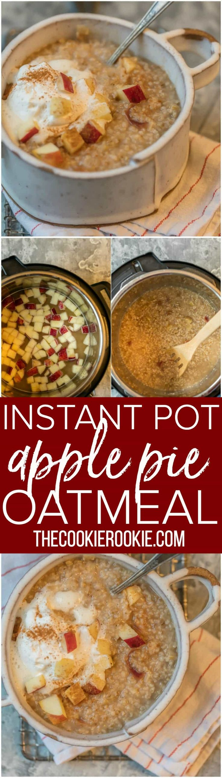 This INSTANT POT APPLE PIE OATMEAL is made in under 10 minutes and is making mornings easy and delicious! Top with some fresh whipped cream for an extra special treat. via @beckygallhardin