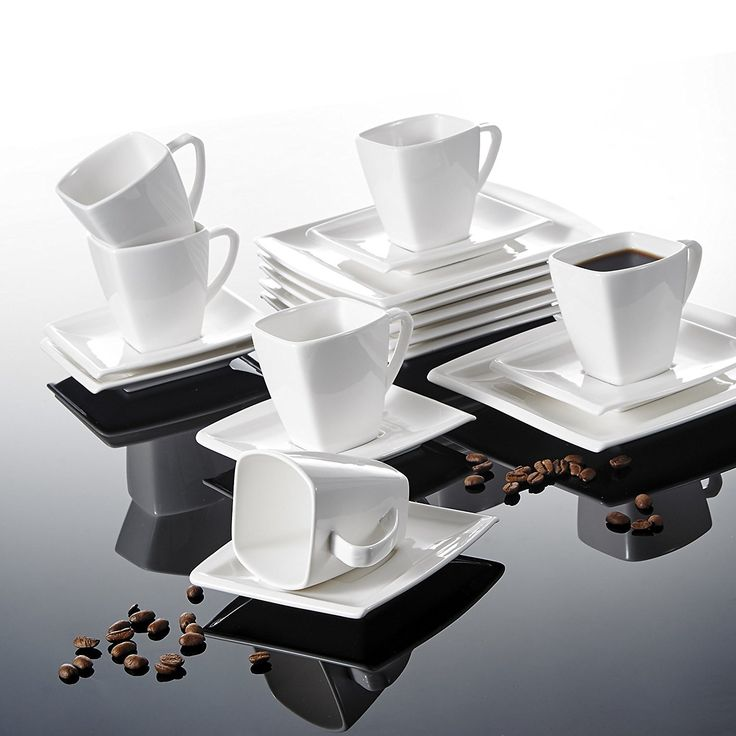 Ceramic Square Tableware 18 Dinnerware Table Serving White Set.This Ceramic Square Tableware 18 Dinnerware Table Serving White Set includes 6 Cups, 6 Saucers and 6 Dessert Plates.