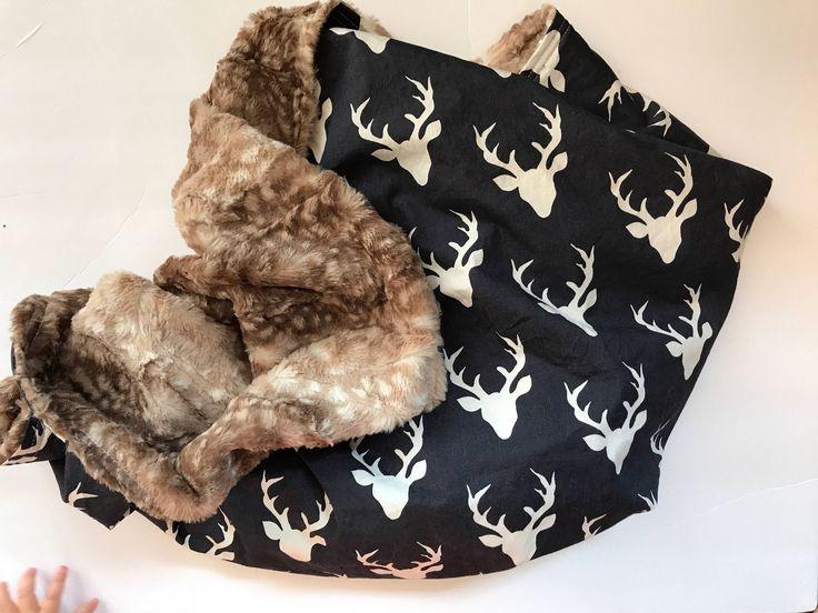 Deer Baby Blanket, Baby Boy Minky Blanket, Stag Baby Blanket, Custom Blanket, Woodland Nursery Bedding, Hello Bear, Personalized Blanket by PreciousandPink on Etsy