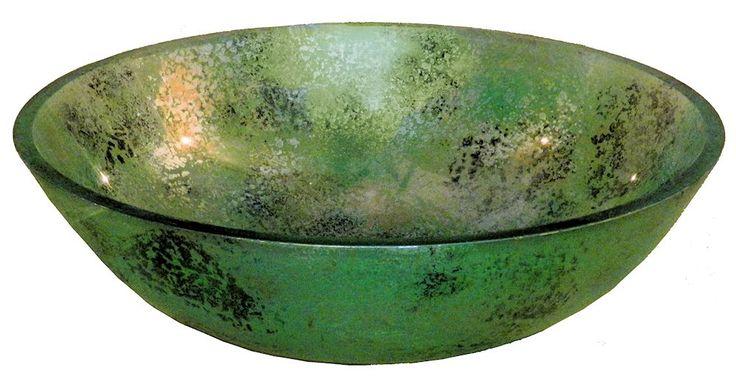 Накладная раковина чаша из закалеенного стекла Nova Marado зеленая. Больше стеклянных раковин для ванны смотрите в каталоге сайта http://mebel-dlya-vanny-na-zakaz.ru/catalog