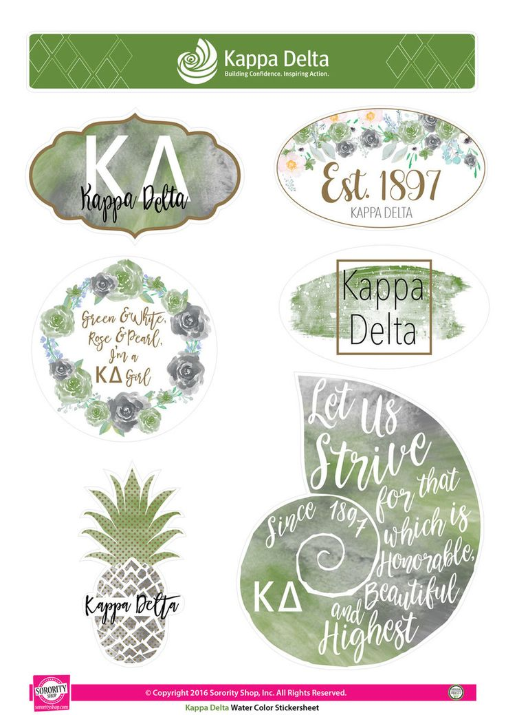 Kappa Delta Sorority Stickers- Water Color - Brothers and Sisters' Greek Store