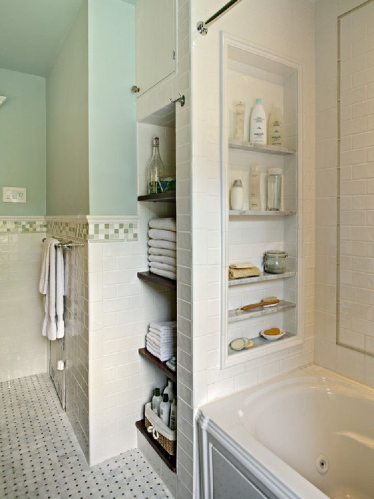 bathroom showers with storage niches also like the tile around the middle to