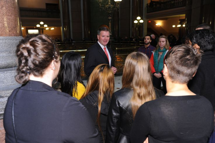 Senator Brady speaking to a group of college students.