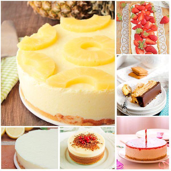 6 tartas sin horno ¡riquísimas! No te pierdas estas 6 recetas de tartas sin horno, fáciles y deliciosas. Tres chocolates, de queso, de piña, de limón, de fresas, de galletas, tartas sin horno.