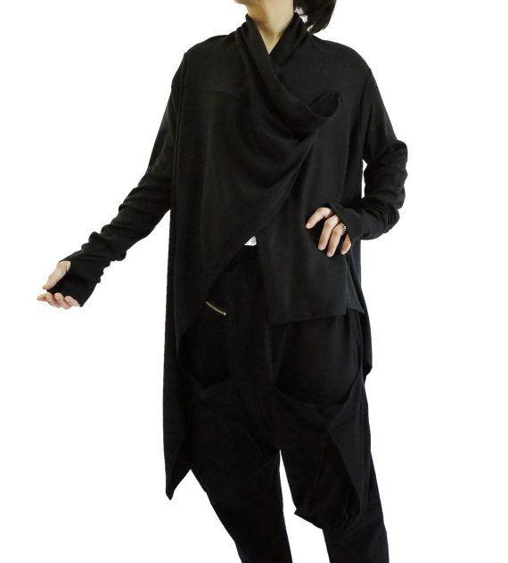 Oversized Funky Boho Long Sleeve zwart katoen Mix Polyester Jersey gedrapeerd Front Open Vest Blouse vest trui - C001