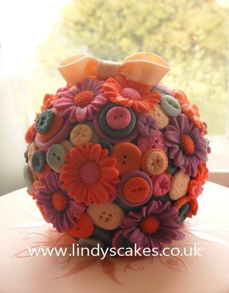Kissing-ball-cake-with-buttons-and-flowers-by-lindy-smith: Fondant Cake, Flower Cake