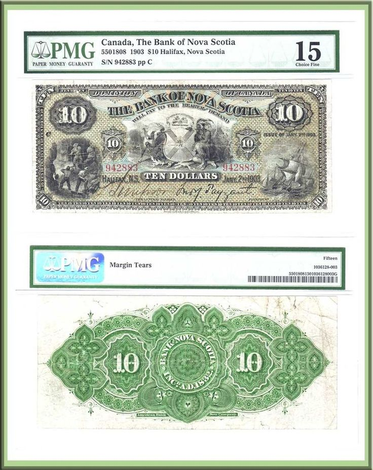 1st  Bank of Nova Scotia $10: Very Early 1903 Date PMG Choice Fine15. Arms of NS