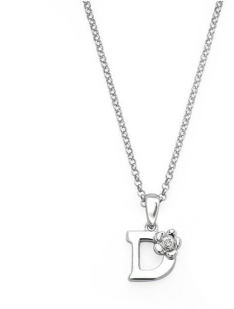 "Little Diva Diamonds Little Diva Silver Initial ""D"" Necklace with Diamond Accents for Children"