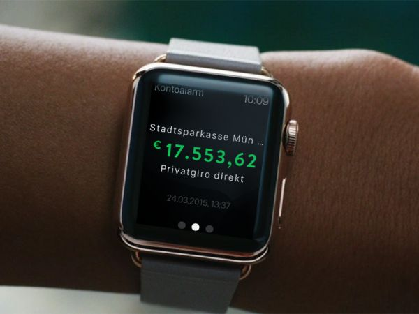 April 2015 - aboalarm releases its newest FinTech app kontoalarm for the Apple watch.