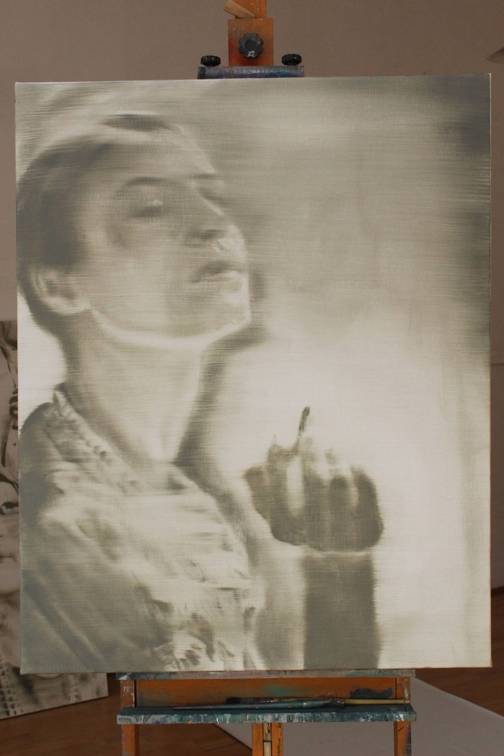 Buy Smoke, a Oil on Canvas by János Huszti from Hungary. It portrays: Portrait, relevant to: painting, portrait, woman, canvas, hand, neutral, oil Painted in a neutral style. Used a special mixed grey color. Painted after a found photography.