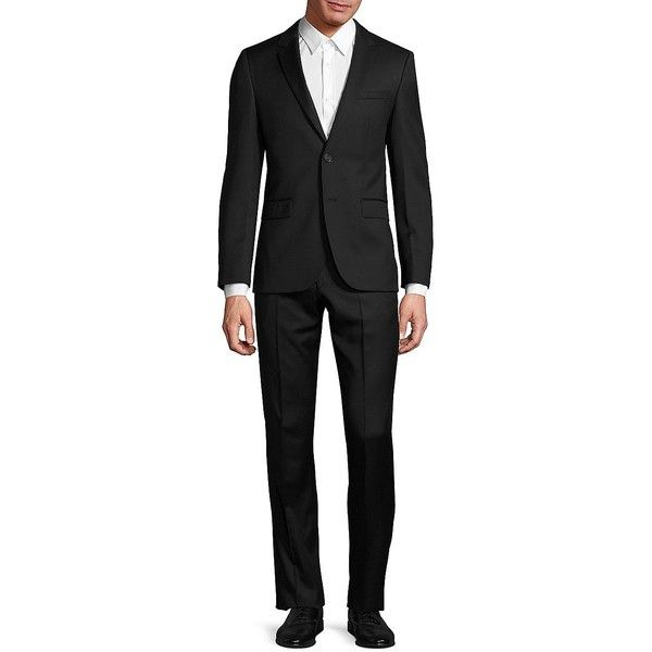 HUGO BOSS Slim-Fit Virgin Wool Suit (16.165 ARS) ❤ liked on Polyvore featuring men's fashion, men's clothing, men's suits, apparel & accessories, slim fit mens clothing, mens slim fit suits, mens slim suits, mens shiny suits and mens slim cut suits
