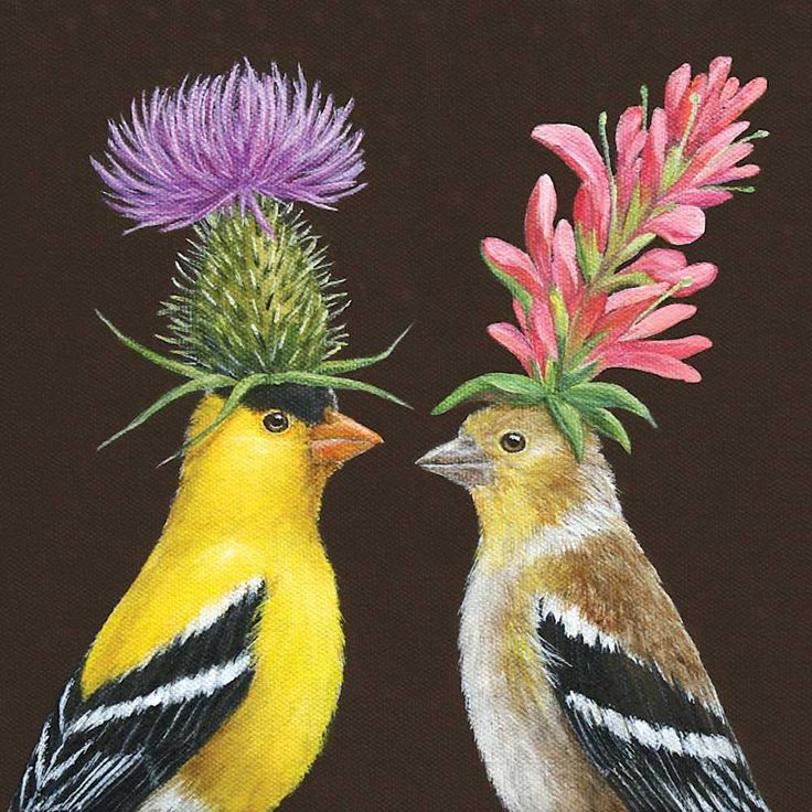 Paper Napkin by Paperproducts Design (beverage & lunch sizes available), art by Vicki Sawyer. Design 'Goldfinch Couples'