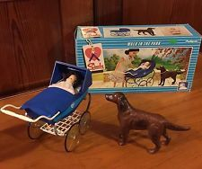 44510 Pedigree Sindy Walk In The Park Boxed Red Setter Dog Baby Matilda Wth Hair