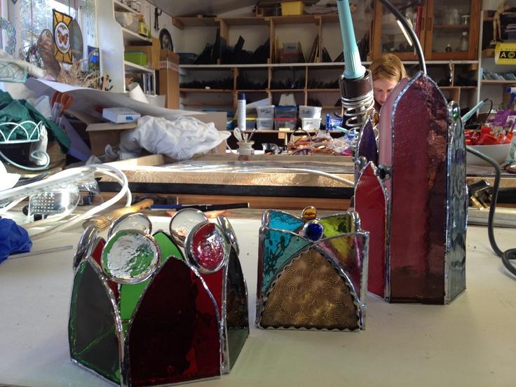 3 copper foiled T light holders