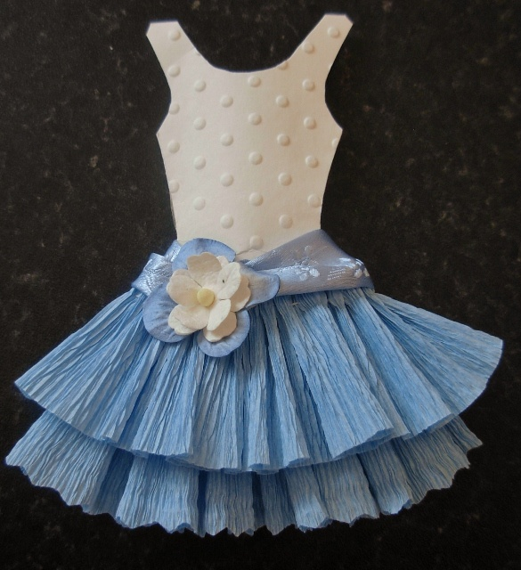 blue and white paper dress                                                                                                                                                                                 More