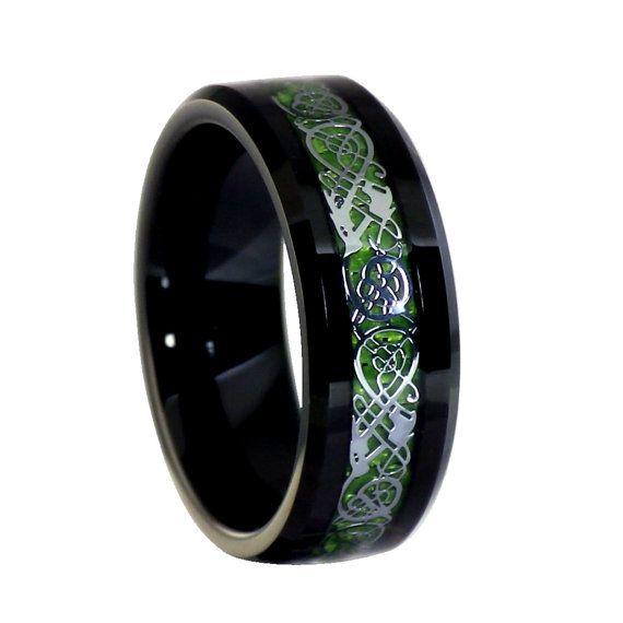 Bague Dragon celtique  Noir bague en par FantasyForgeJewelry