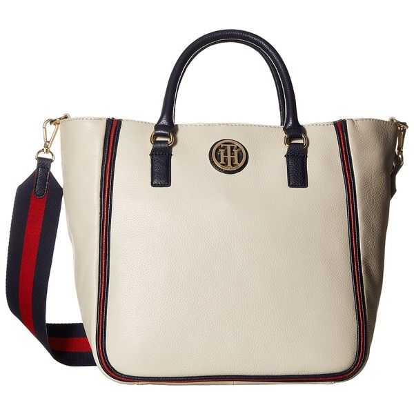 Tommy Hilfiger Alice Pebble Shopper (Oatmeal) Handbags (640 PEN) ❤ liked on Polyvore featuring bags, handbags, tote bags, zippered leather tote, white leather tote, zipper tote, white leather handbags and leather tote