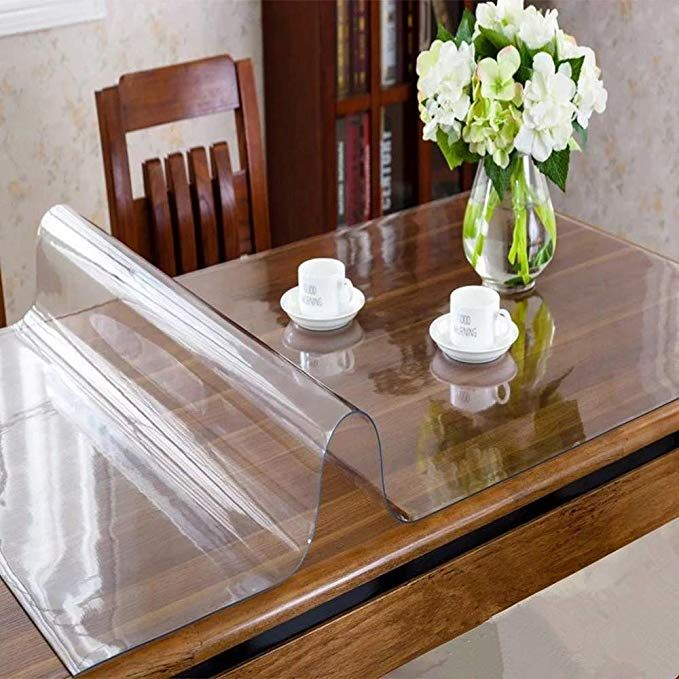 Ostepdecor Custom 2mm Thick Crystal Clear Table Top Protector Plastic Tablecloth Kitchen Dining Room W Wood Dining Room Plastic Table Covers Coffee Table Cover