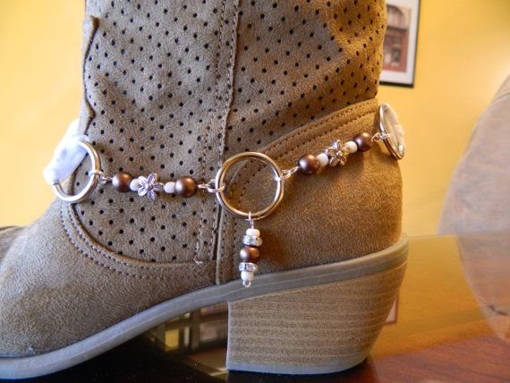 BOOT BLING made from White Organza Ribbon by gr8byz on Etsy, $13.50