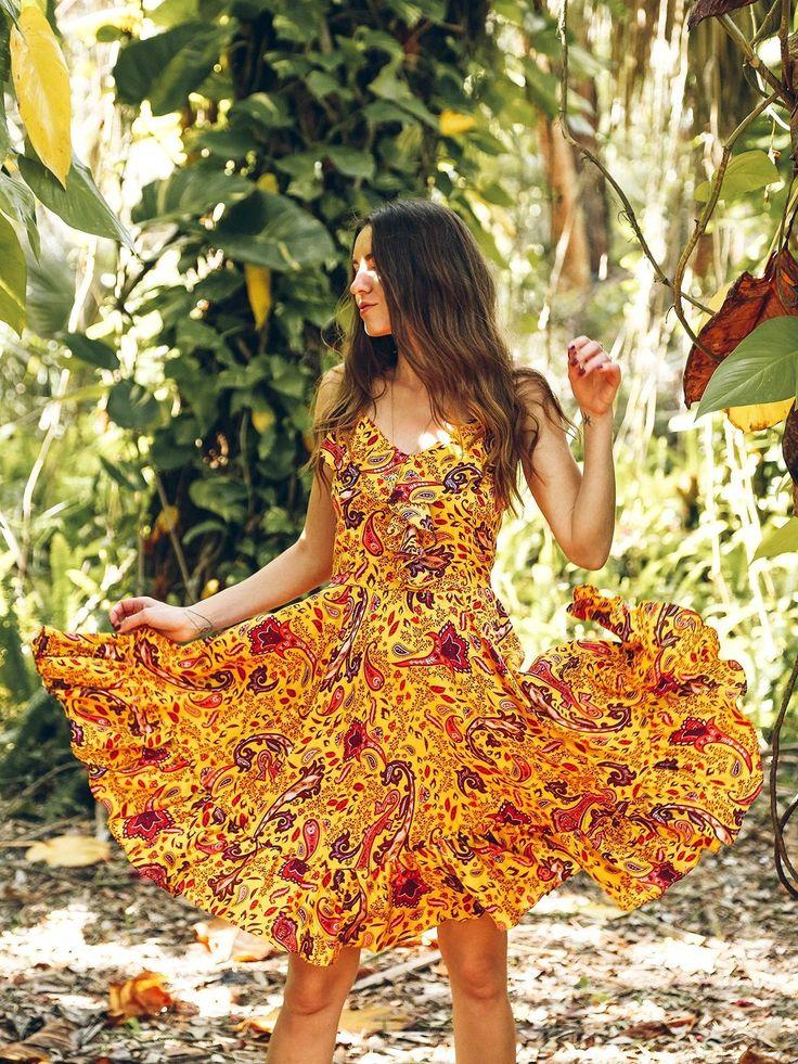 TAMGA Kezia Boho Summer Dress Padang Print