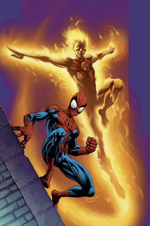 ULTIMATE SPIDER-MAN #68 - Pencils & Cover by Mark Bagley << all I'm asking for is the Spider-man/Human Torch bromance portrayed on film. Please. -Q
