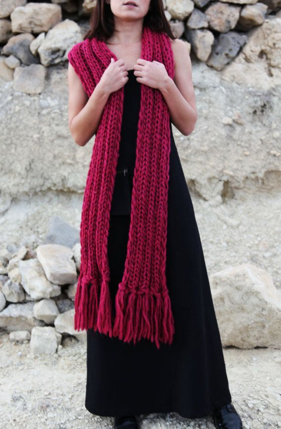 Burgundy red knitted extra long plush soft by AnnaOhSailors