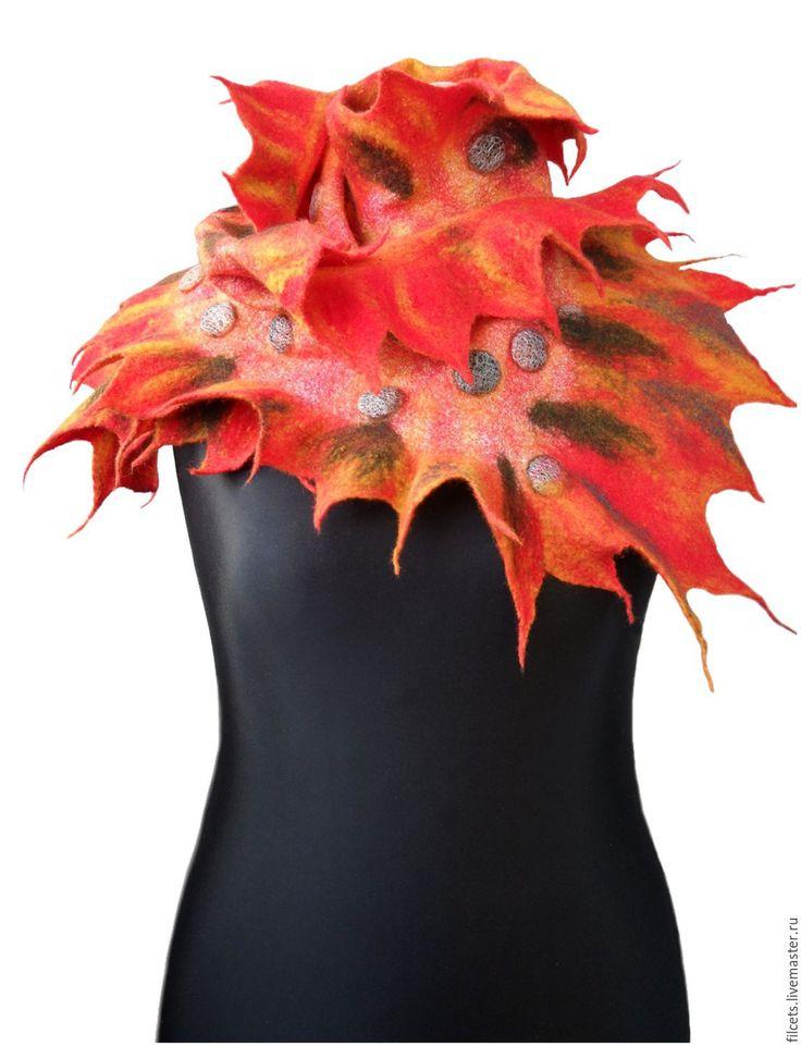 Купить Нуно-войлочный шарф Краски Осени - комбинированный, осень, осенние листья, Осенние цвета