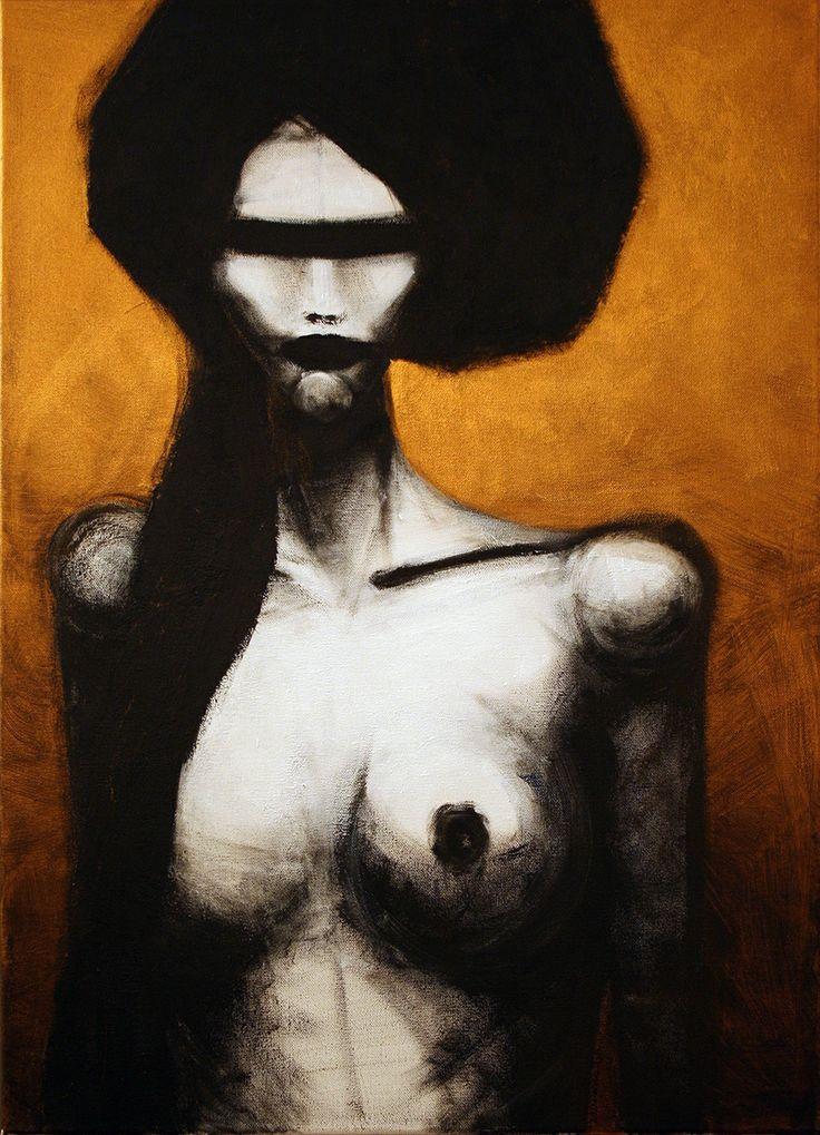 no title, 50x70cm, acrylic on canvas, 2013, portrait, face, art, paintig, gold