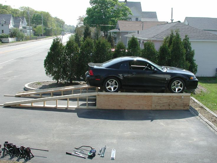 Check out this home made all wood car lift the garage Car lift plans