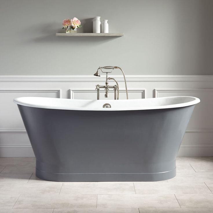"67"" Kateryn Bateau Cast Iron Skirted Tub - Dark Gray"