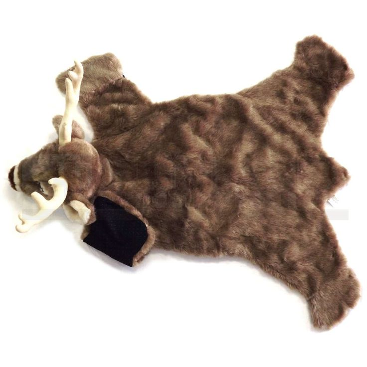 Our adorable faux deer skin rug measures 24 inches wide x 36 inches long. The fur is fake and 100 percent fun.