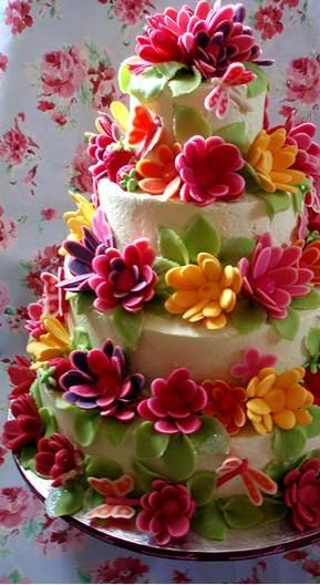 Bright Flower - Four TierColors Flower, Gardens Cake, Tiered Cake, Flower Power, Layered Cake, Colors Cake, Wedding Cake, Cake Art, Flower Cake