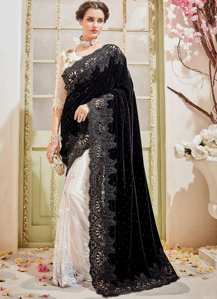 BLACK N WHITE EMBELLISHED DESIGNER WEDDING SAREE