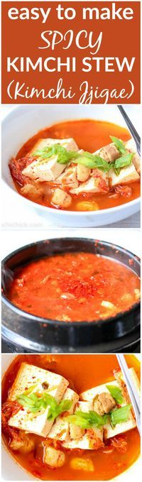 Kimchi Jjigae is a comforting Korean stew made with pork belly, fermented kimchi, and tofu. It's spicy, satisfying, and simply made in only 20 minutes |www.kimchichick.com