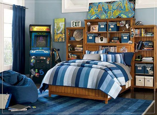 Blue bed lamp room young man teen design shelves wood pictures