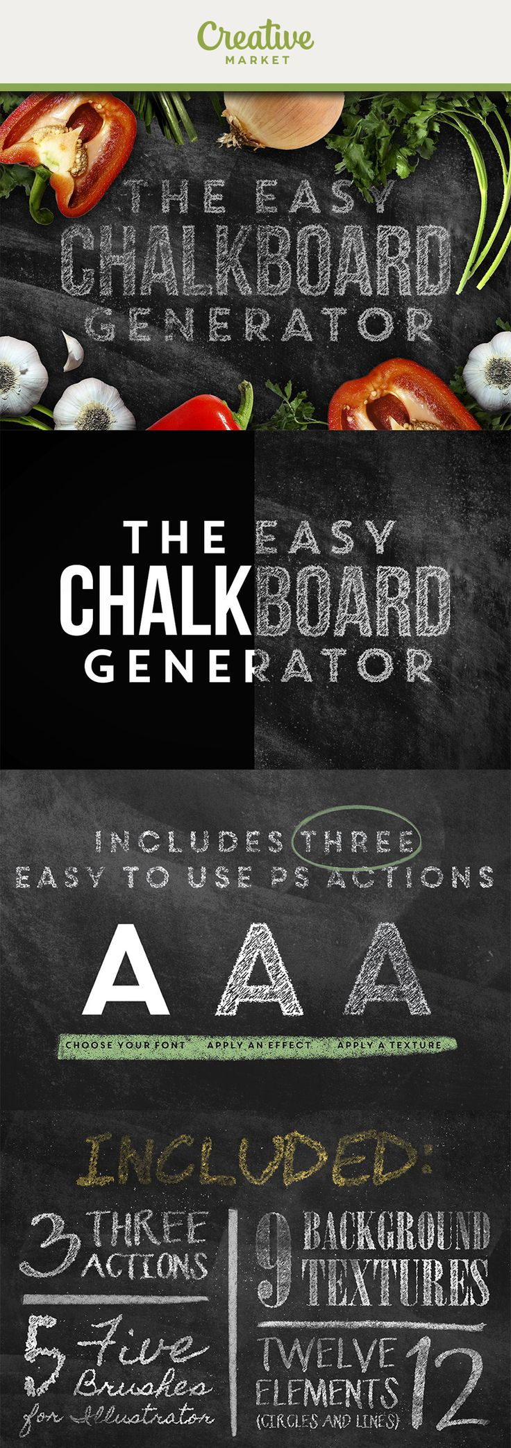 Ad: Give your artwork a unique handmade look with the Chalkboard Effect Pack. To get the most authentic look possible, all of the textures were the result of many hours spent hands-on with real chalk.All you have to do is load up one of our provided high res PSDs (wide format or tall format), load in your artwork, play one of 3 actions (to generate the effect), and hit save!