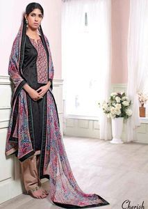 Ganga 3129 - Black Color Cotton Self Print Long Designer Suit Online. Available Free Shipping with best discount.