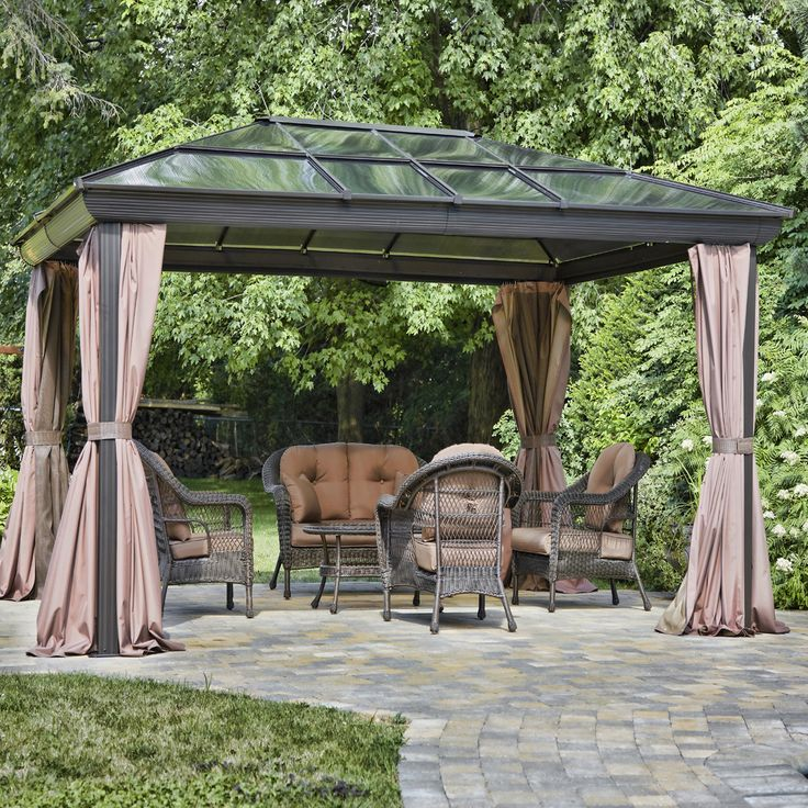 Outdoor Patio Gazebo for Sale Canopy Patio Wedding Party Backyard Tent Aluminum Use this Outdoor Patio Gazebo to enjoy your wedding, party or any other celebration. Four(4) season gazebo Curtains can be tied to the frame with bands or can be left open Zippers are available in the back to close the two parts of screening Screening is easily removable and replaceable Two hooks are available to place for your convenience light fixture or accessories Blocks out UV Rays but not the sunlight…