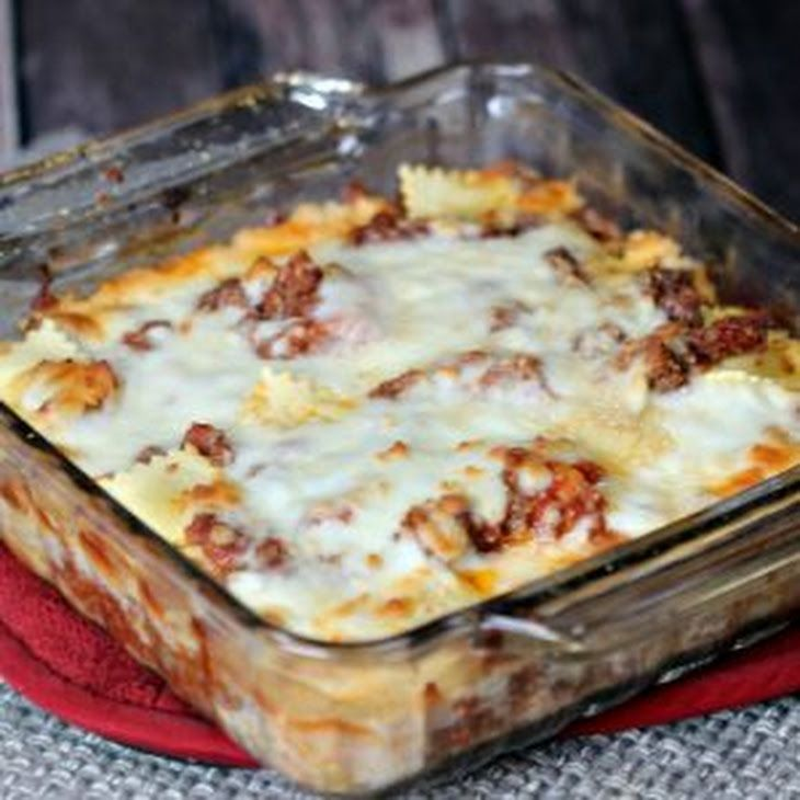 Lazy Day Easy Lasagna With Frozen Cheese Ravioli Ground Beef Crushed Tomatoes Italian Seasoning Garlic Easy Lasagna Recipe Easy Lasagna Recipes