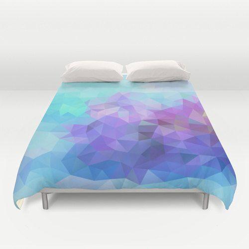 Duvet, Duvet Cover, King Size, Bed cover, King Duvet, Queen Duvet, Art, Blue, Violet, Lilac, Flower, Nature, Polygon, Geometric, Pattern