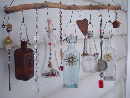 pleasure: Kitchens Window, Ideas, Vintage Bottle, Junk Art, Glass, Windchimes, Wind Chimes, Gardens Art, Old Bottle