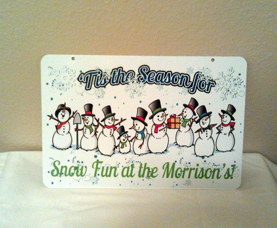 Tis the Season Snowman Family Aluminum Christmas by LogoPrint