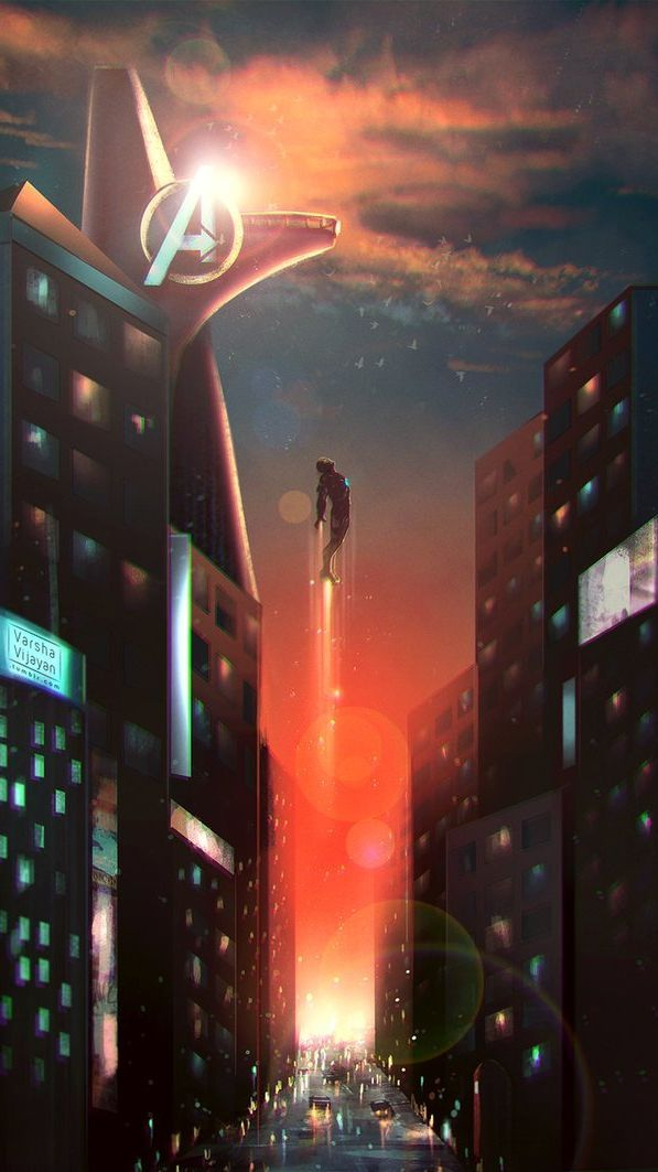 Iron Man Stark Tower iPhone Hintergrundbild marvel wallpaper