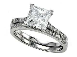 Zoe R(tm) 925 Sterling Silver Micro Pave Hand Set Cubic Zirconia (CZ) Princess Cut Center Wedding Set  https://www.finejewelers.com/jewelry/Cubic-Zirconia/Wedding-Sets/BM10381.aspx