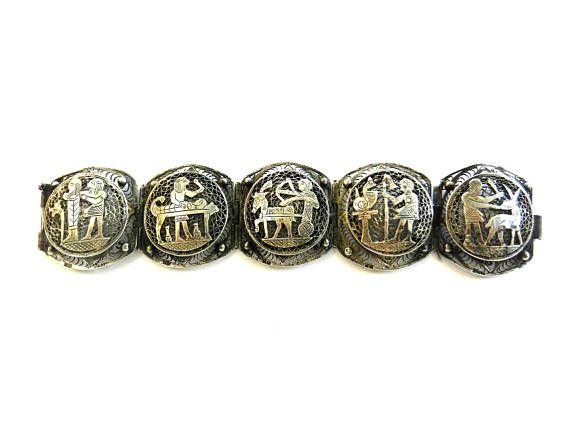 Gorgeous vintage Egyptian revival 800 silver extra elaborate 5