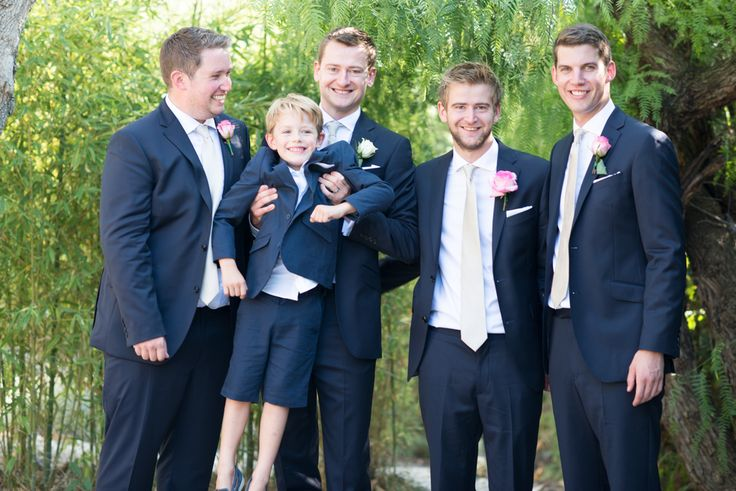 Groom and Ushers in Navy Suits with elegant silver ties and Pink Rose buttonholes - Fine art wedding photography by #JulieMichaelsenPhotography